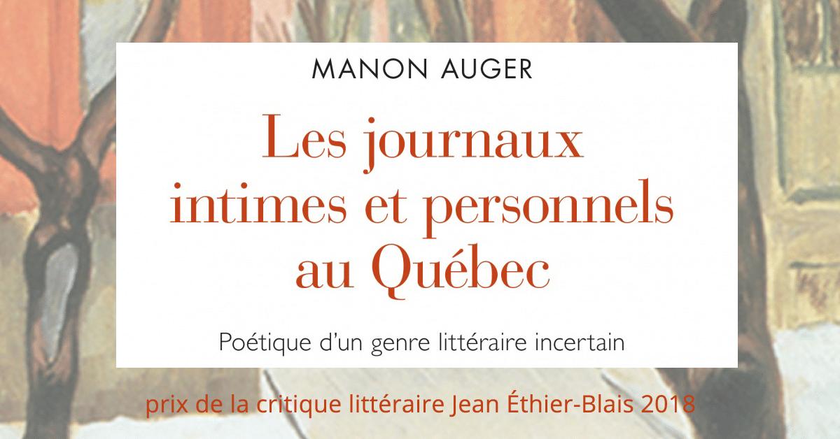 Manon Auger : Lauréate pour le prix de la critique littéraire Jean Éthier-Blais 2018