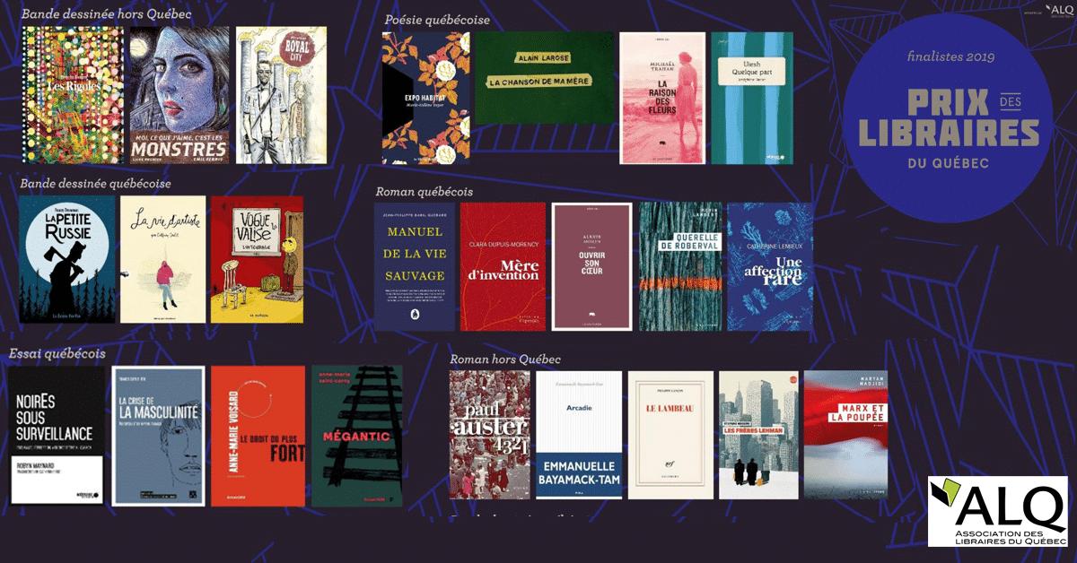 Annonce des finalistes du Prix des libraires du Québec 2019