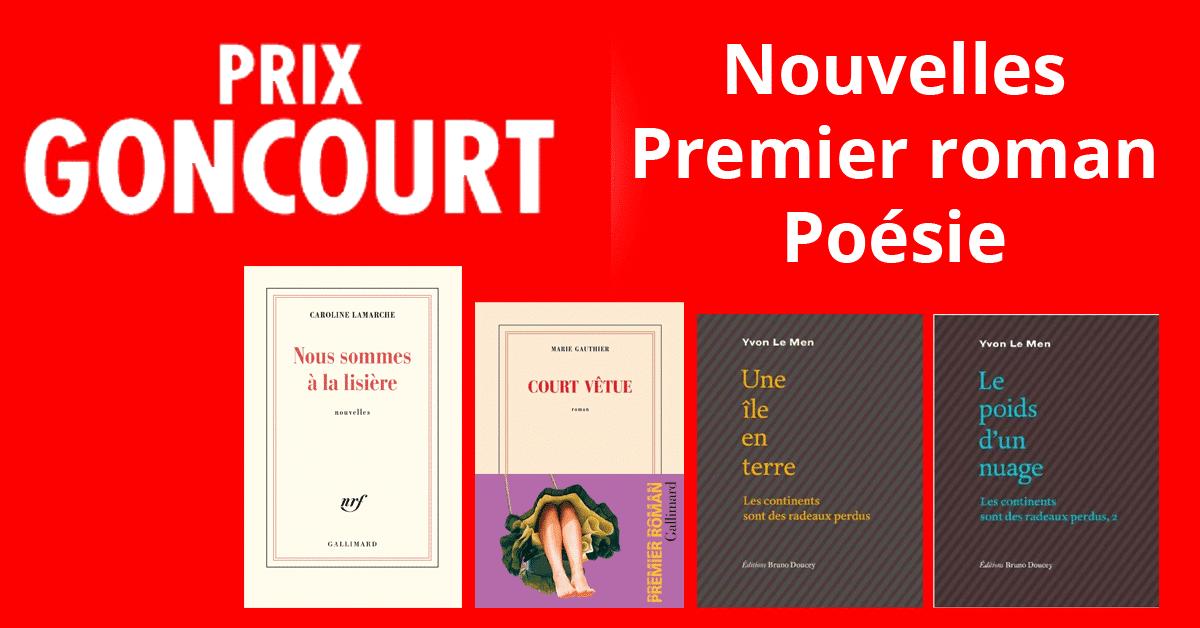 Les lauréats du Goncourt de la nouvelle, du premier roman et de la poésie