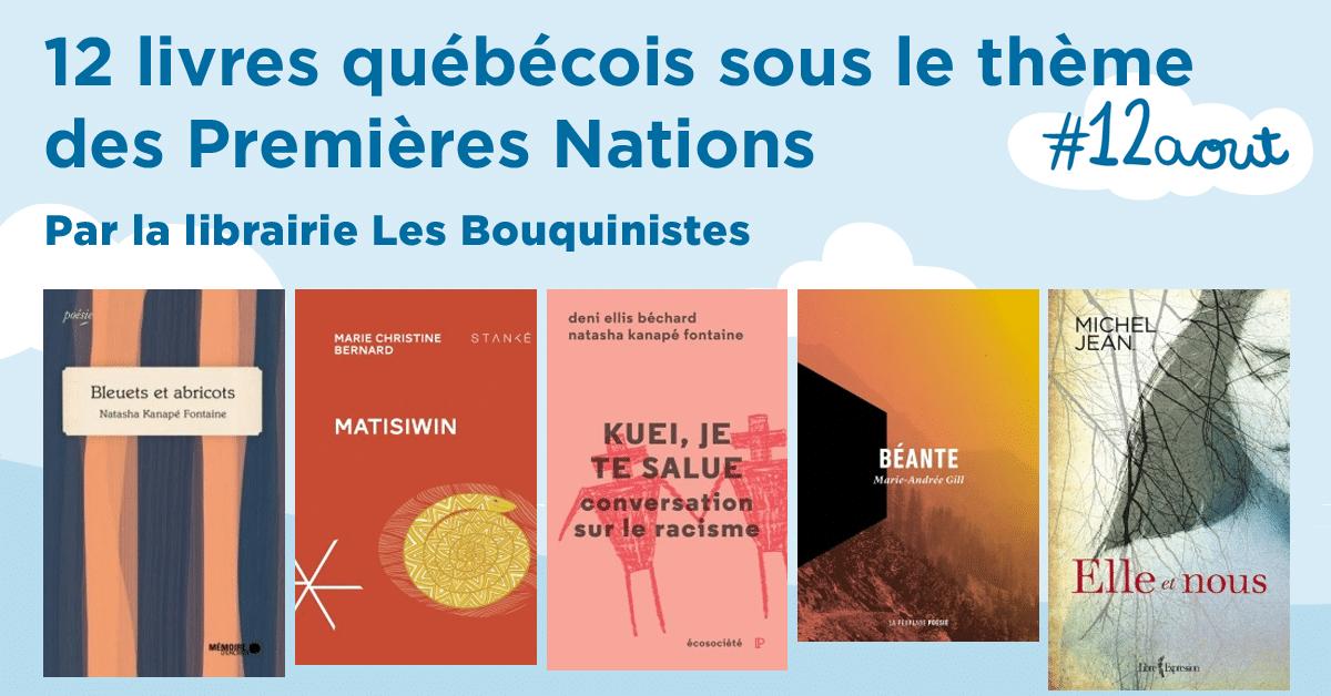 12 livres québécois sous le thème des Premières Nations