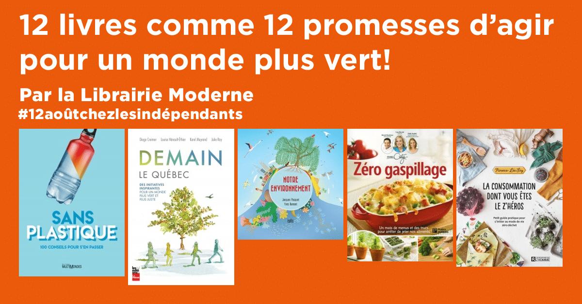 12 livres comme 12 promesses d'agir pour un monde plus vert!