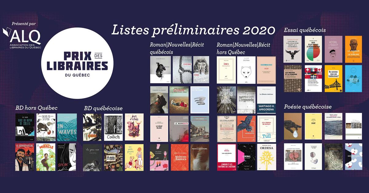Prix des libraires du Québec 2020 : les listes préliminaires