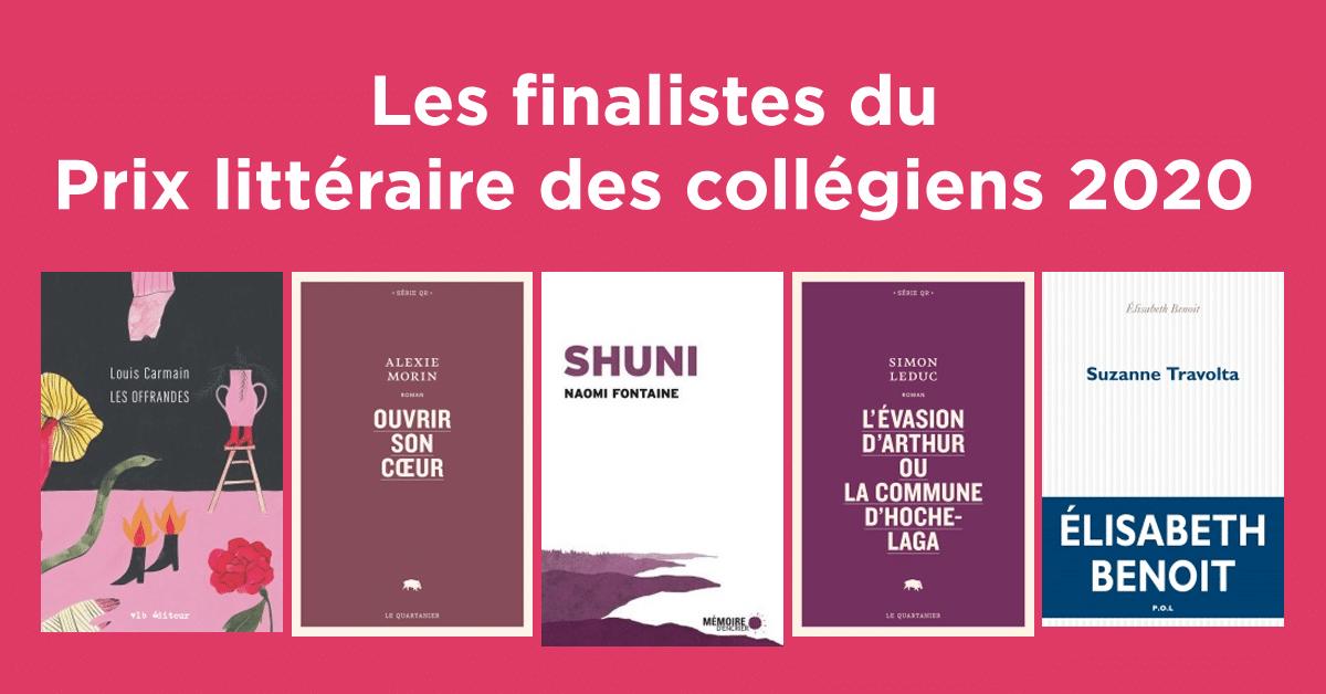 Les finalistes du Prix littéraire des collégiens 2020