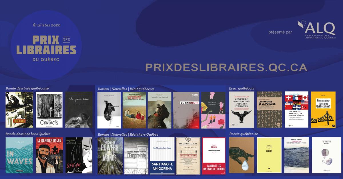 Les finalistes du Prix des libraires du Québec 2020