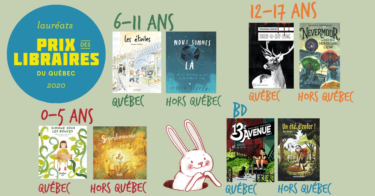 Lauréats des Prix jeunesse des libraires du Québec 2020